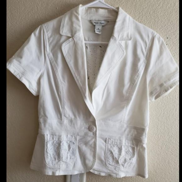 White House Black Market Jackets & Blazers - White House Black Market White Cropped Jacket